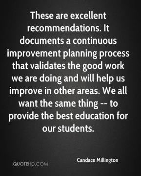 Candace Millington - These are excellent recommendations. It documents ...