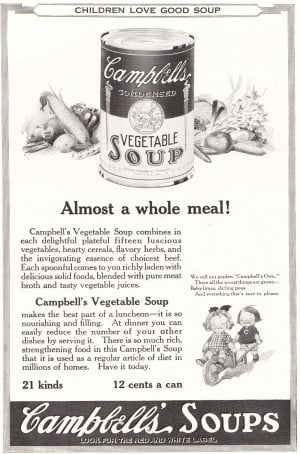 Campbell's Condensed Vegetable Soup. Children love good soup. Almost a ...