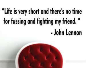 Life Is Very Short John Lennon Beatles Quote Decal Sticker Wall Vinyl ...