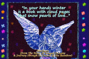 In your hands winter is a book with cloud pages that snow pearls of ...