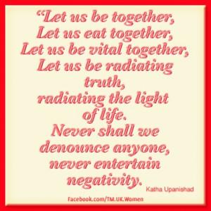 Let us be together, let us eat together, let us be vital together ...