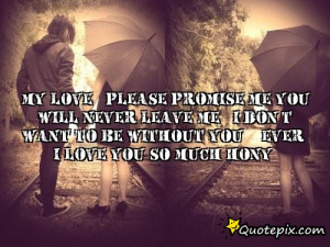 My love.. Please promise me you will never leave me.. I don