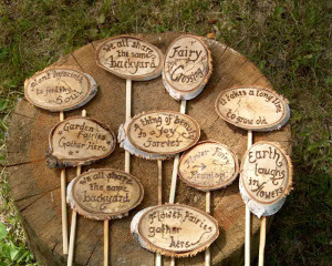 small garden markers garden quotes wood burned on birch and mounted on ...