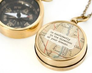 Working Map Compass Necklace - Go Confidently in the Direction of Your ...