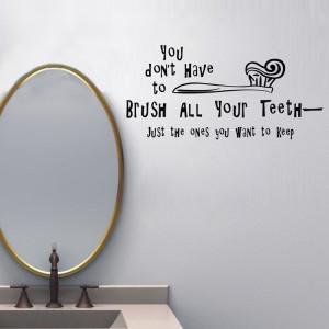 Brush Teeth funny Quote Vinyl wall sticker bathroom kids room decal ...
