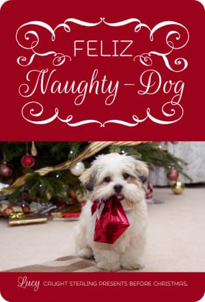 Feliz Naughty Dog Christmas Photo Card by PurpleTrail.com.
