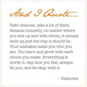 Take chances, a lot of them.