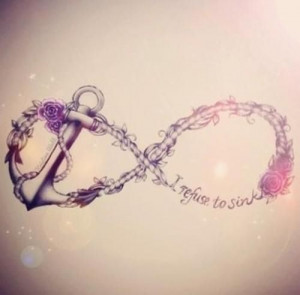 Infinity symbol, anchor tattoo and quote