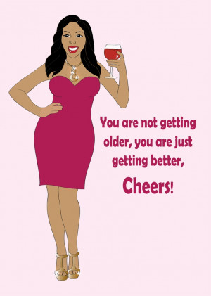 Birthday Greeting Card for Women. Beautiful Black woman wearing a pink ...