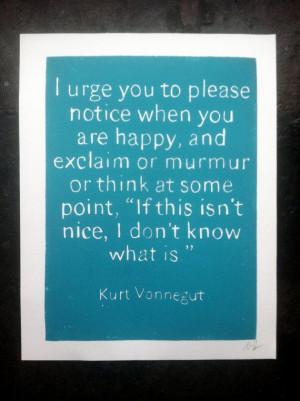Original Art POSTER Kurt Vonnegut Quote - Turquoise - I urge you to ...