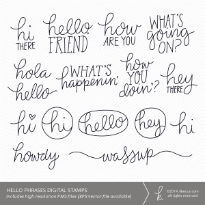 Hello Words and Phrases Digital Stamps | K.becca #digital #cardmaking ...