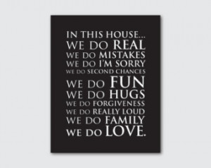 Modern Wall Art - 8 x 10 or larger print - In this house...we do love ...