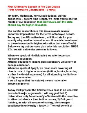 Eng 2d Sample Aff Debate Speech picture