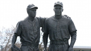 AP Photo/Kevin Reece This statue of Pee Wee Reese and Jackie Robinson ...