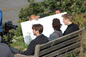 David Tennant, Arthur Darvill and Olivia Colman filming Broadchurch at ...