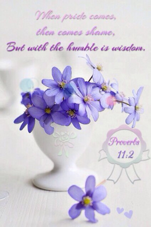 ... pride comes, then comes shame, but with the humble is wisdom. #Bible #