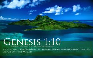 ... Verses Genesis 1:10 Ocean Island Beautiful Landscape HD Wallpaper