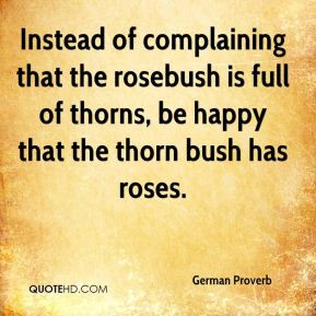 German Proverb - Instead of complaining that the rosebush is full of ...