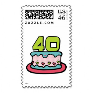 zazzle.com40 Year Old Birthday Cake Stamps from Zazzle