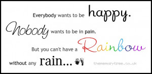 ... wants to be in pain, but you can't have a rainbow without any rain