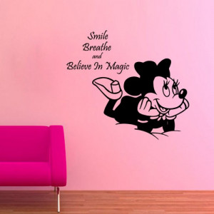 Disney Mouse Wall Decals Smile Breathe Believe in Magic Quotes ...