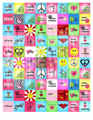 NEW Girls Rock Tween Sayings 2 Digital Collage Sheet 1 inch Square ...