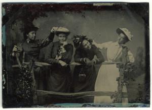 Four Women Posing Humorously, 1890