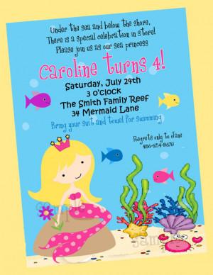 Mermaid Under the Sea Swim Birthday Party Invitation Printable - You ...
