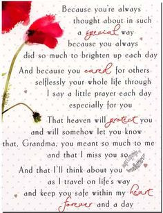 grandmother poems for funeral google search more grandmothers poem ...