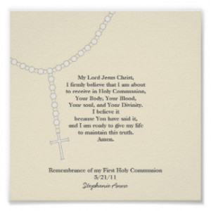 My First Rosary, First Holy Communion Prayer Print
