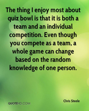 The thing I enjoy most about quiz bowl is that it is both a team and ...