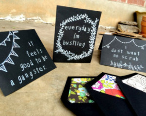 Set of 3 Rap Lyric Cards, Rap Quote s, Chalk Board Cards, Funny Cards ...