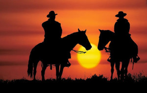 cowboy silhouette | Cowboy Riding Off into the Sunset: Fargo Express ...