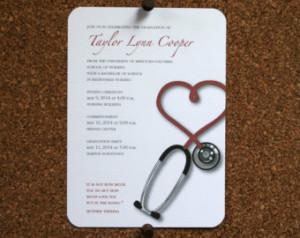 ... Medical School Graduation Announcement / Invitation with Inspirational