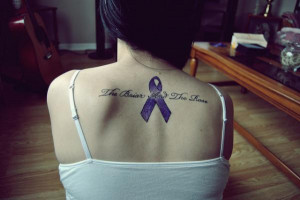 blue ribbon and lettering memorial tattoo in memory of grandmother who ...