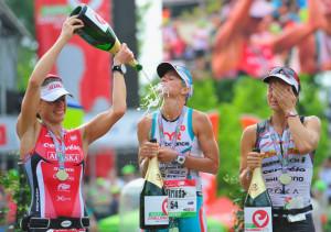 Rachel Joyce Mirinda Carfrae C of Australia celebrates with second