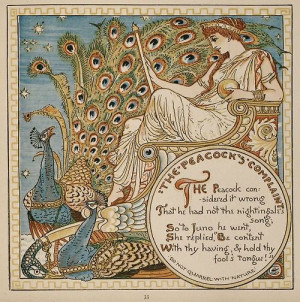 acertainidontknowwhat: The Peacock's Complaint by Walter Crane. ]