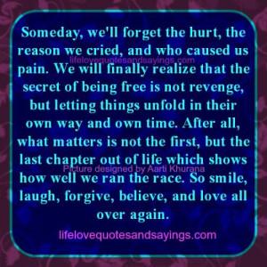 Secret Of Being Free Is Not Revenge..