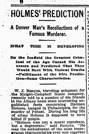 WJ Bunyea and the Growth of HH Holmes Lore