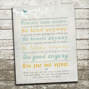 Mother Teresa Quote Wall Art - Many Print Sizes Available