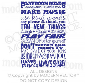 Playroom Rules Quote Vinyl Wall Decal Lettering Boys Girls Nursery Pre ...
