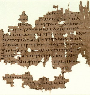 ... fragment of Plato's dialogue of Republic in ancient Greek