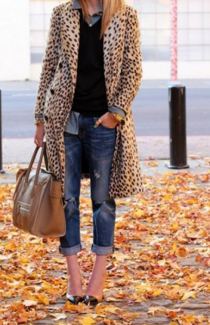 ... wearing leggings under distressed denim and accessorizing with a