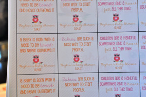 ... the rock candy favors. We used a few different quotes about babies