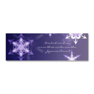 Inspirational winter snowflake bookmark with quote business cards from ...