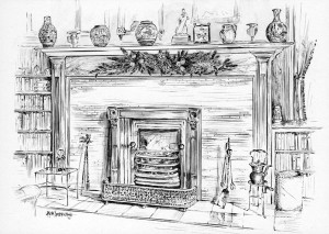 outline of a fireplace how to draw a fireplace various other christmas ...