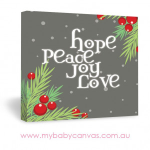 Hope Peace Joy Love Christmas Quote Canvas Design in Grey| My Baby ...