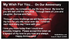 My Wish For You On Our Anniversary