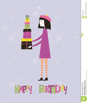 Happy birthday greeting card with a girl and gifts. Vector.