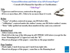 General Directions and Order of an APA Format Paper - Consult APA ...